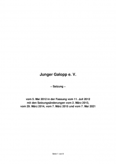 "Satzung des Vereins ""GERMAN RACING Next Generation e.V."""